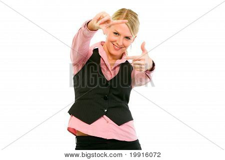 Smiling modern business woman looking through frame made fingers isolated on white
