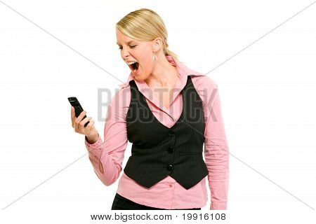Angry modern business woman shouting on mobile phone isolated on white