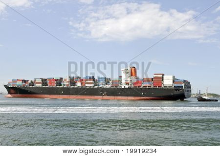 containership and pilot boat
