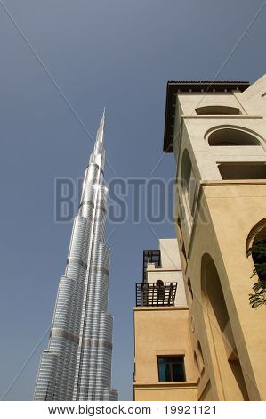 Dubai, Uae - 2/11/2011: Side View Up Of Building Next To Burj Du