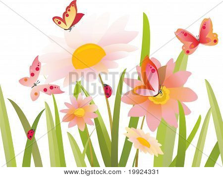 flowers and butterfly in vector