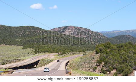 A highway in the mountains in Nevada