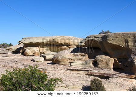 Rock formations on the mountains due to erosion Nevada - Utah