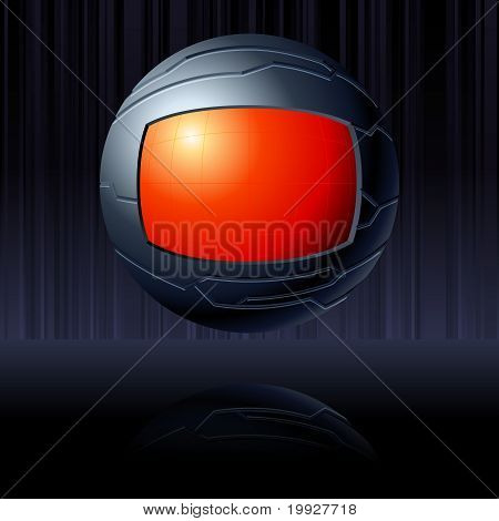 Red and black futuristic globe. Includes transparencies