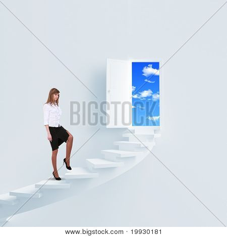 young girl climbs the ladder