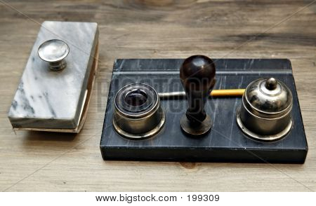 Paper Weight And Inkstand