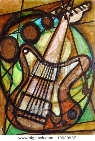 Cubist Guitar Painting