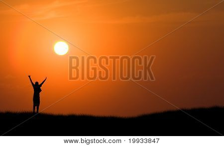 Boy Jumping Silhouette Sunset