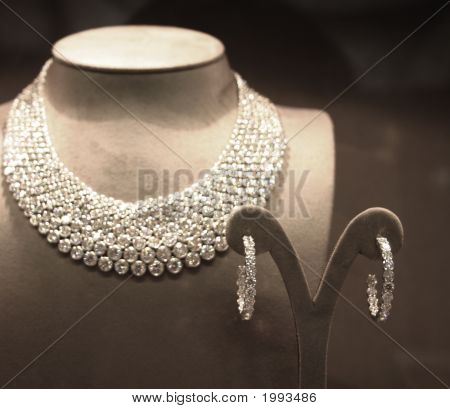 Sparkling Diamond Necklace And Pair Of Earrings