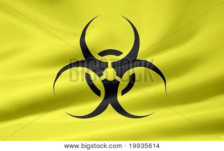 Flag with the biohazard sign