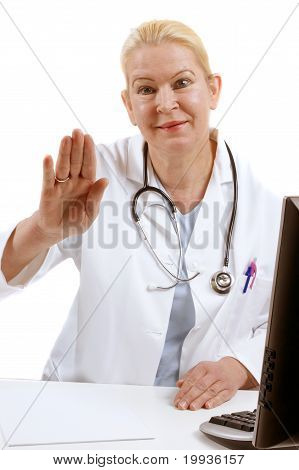 Medical Assistant Raises Her Hand To Say Good Bye