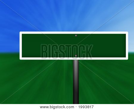 Blank Green Street Sign With Clipping Path