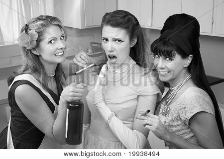 Shocked Woman With Her Friends