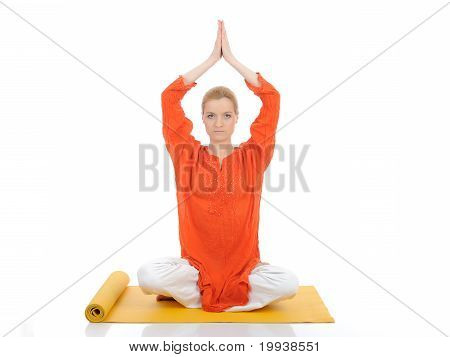 Series Or Yoga Photos. Young Meditating Woman On Yellow Pilated Mat