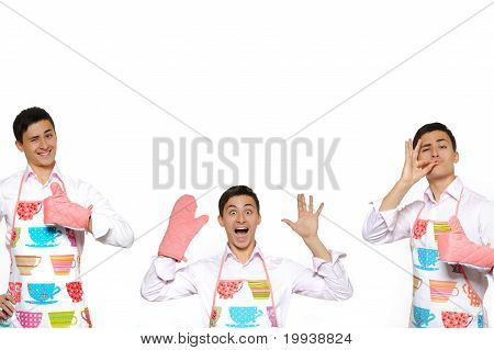 Funny Collage With Three Cooking Men In Apron. Isolated On White Background