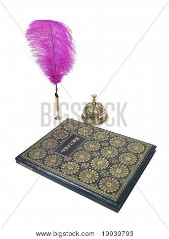 Visitor Book With Feathered Pen And Service Bell