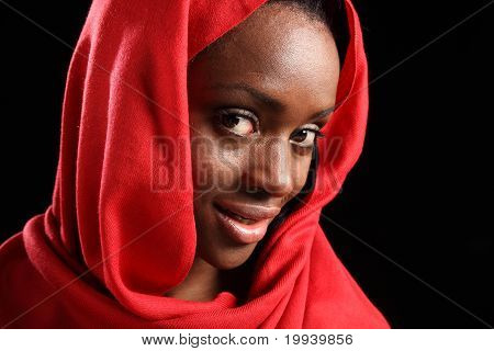Beautiful Black Girl In Headscarf With Happy Smile