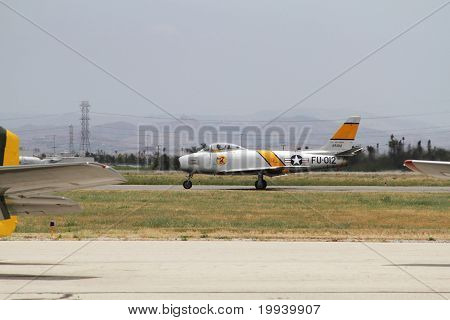 Grey F-86E Saber Fighter Plane