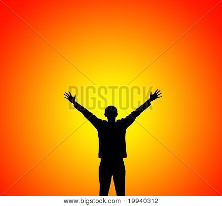 Man Lifting Hands To Sunset