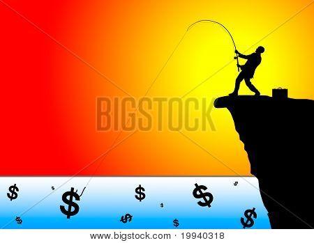 Silhouette der Geschäftsmann Angeln für Geld