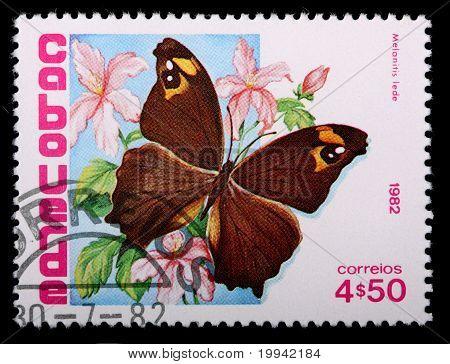 Cape Verde - Circa 1982: A 4-escudo, 50-centavo Stamp Printed In Cape Verde Shows The Butterfly Mala
