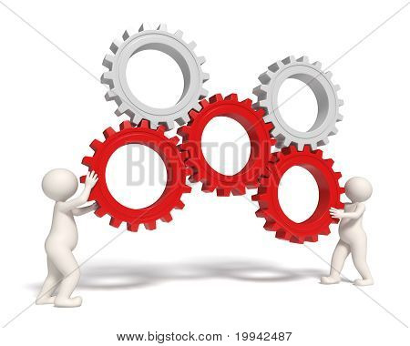 Gears Solution Icon - 3D People