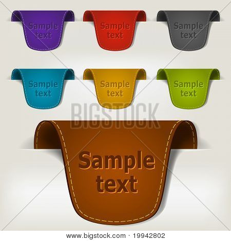 Set Of Multicolored Leather Tag Labels