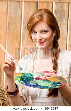 Young Romantic Woman Hold Color Palette Barn