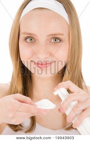 Acne Facial Care Teenager Woman Apply Cream