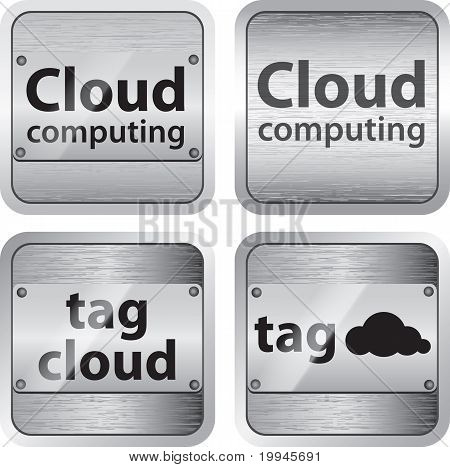Cloud Computing And Tag Cloud Brushed Metallic Buttons