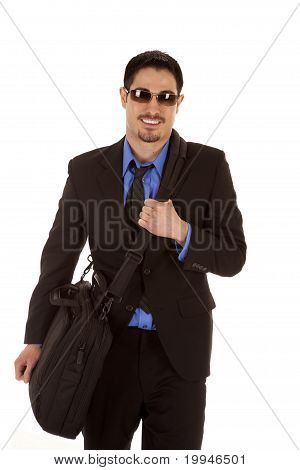 Man In Suit Bag Glasses Smile