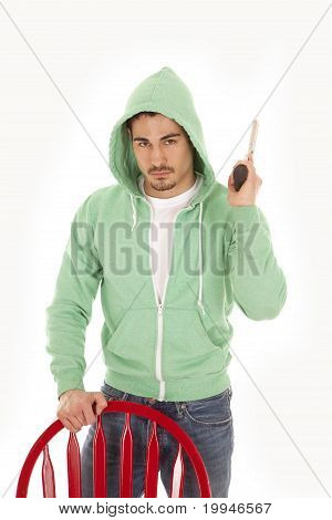 Man In Green With Gun Serious