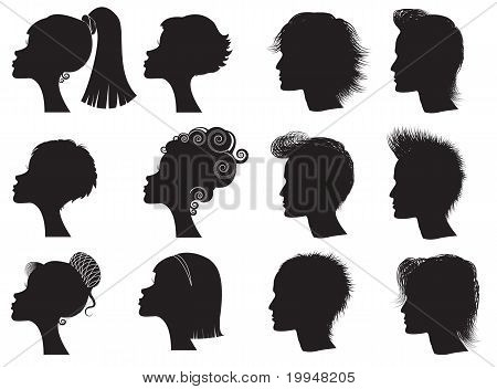 Hairstyles - Vector Black Silhouettes
