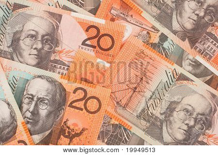 Australian Currency $20 Banknotes Background