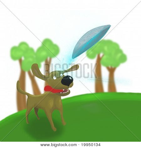 dog jumping to catch ufo
