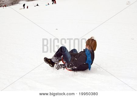 Children Are Sledding Down The Hill In Snow, White Winter