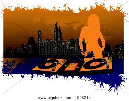 Mädchen Dj Silhouette auf Stadt-Hintergrund