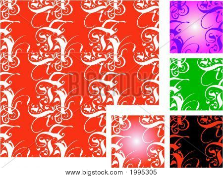 Five Tiled Vector Backgrounds.