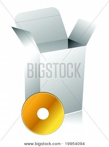 Blank 3d box with compact disc illustration design isolated over white