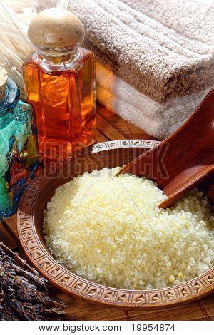 Sea Bath Salts In A Wood Bowl In A Spa