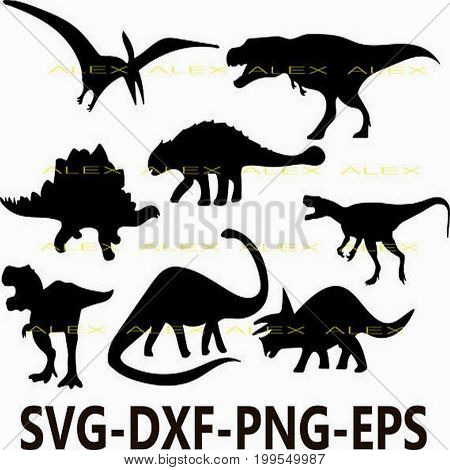 Dinosaurs SVG, Dinosaur Silhouette png, eps, svg, dxf, Dinosaur Clipart, Animals Silhouettes, Silhouette Files, Cut Png File