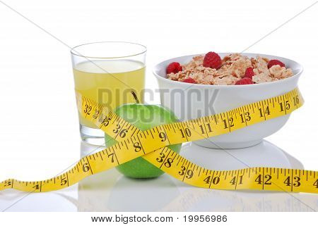 Diet Weight Loss Concept With Tape Measure Green And Organic Green Apple