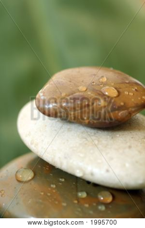 Spa Stones With Water Droplets