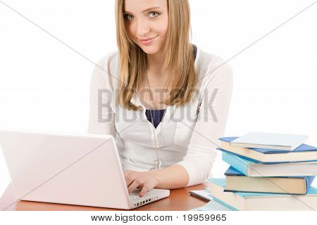 Student Teenager Woman Typing Laptop Book