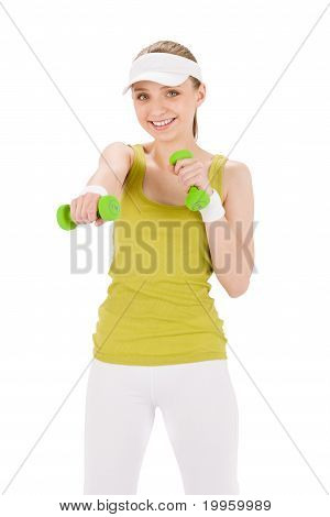 Fitness Teenager Woman With Dumbbell