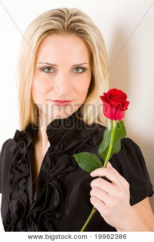 Elegant Sexy Woman Hold Red Rose