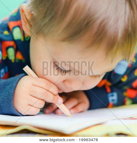 Little Boy Drawing