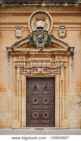 St. Paul's Cathedral door, Mdina, Malta