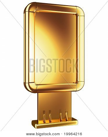 Golden Lightbox Or Billboard Isolated On White