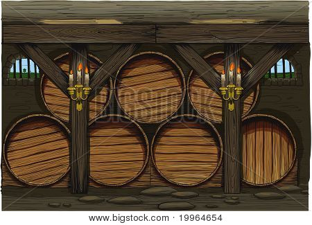 old wine cellar with rows of barrels